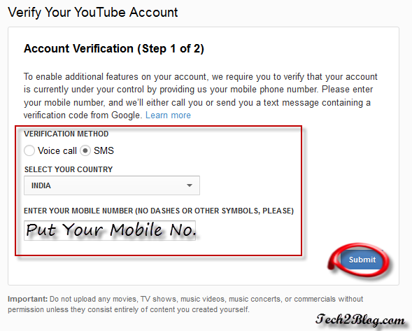 YouTube Account Verification step1