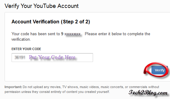 YouTube Account Verification step2