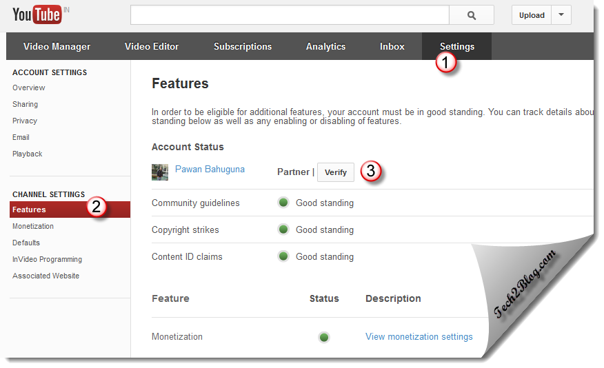 YouTube Setting for Account Verification