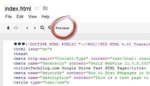 Google drive html file preview
