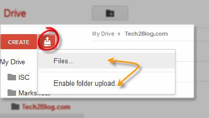 Google drive upload files
