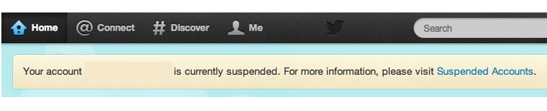 Suspended Twitter account
