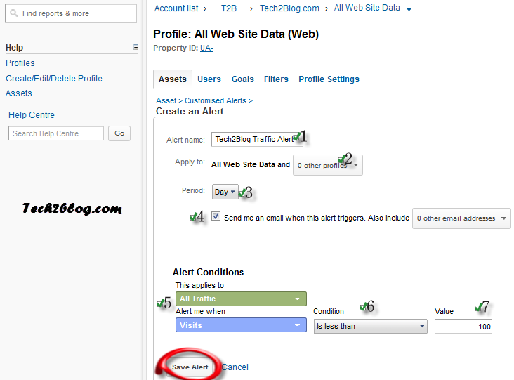 Tech2Blog Google Analytics Custom Alert setting