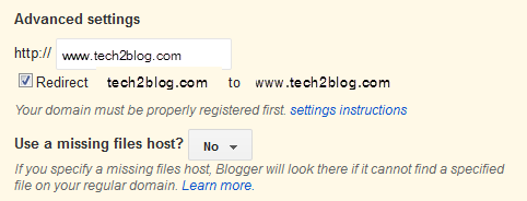 Blogger Custom domain redirect