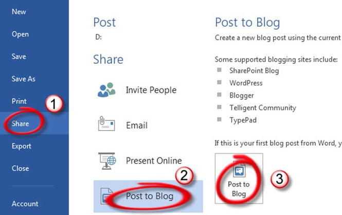 Office365 Post to Blog