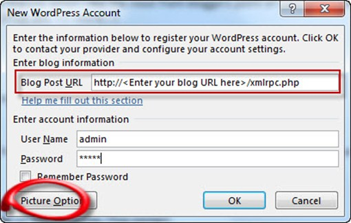 office365 WordPress Credentials