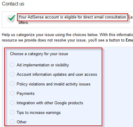 Adsense Email support category