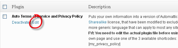 Auto TOS and privacy policy edit