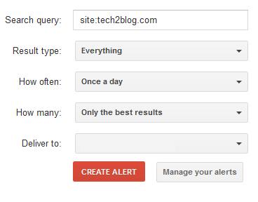 Google Alert settings