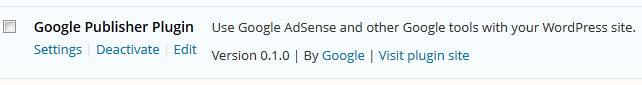 Google Adsense plugin settings