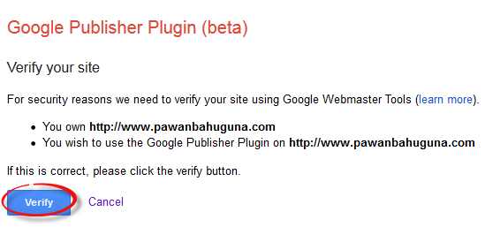 Google Adsense plugin verify