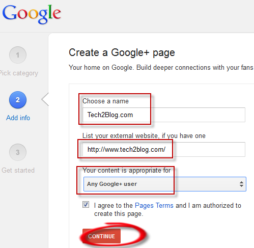 Google Plus page info