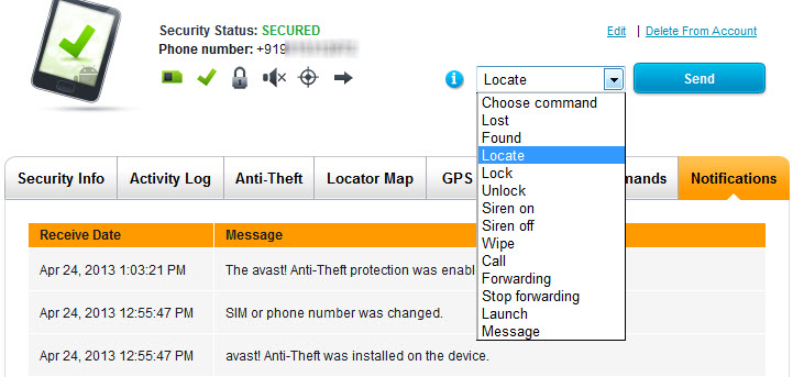 Avast Device commands