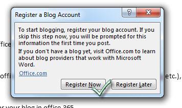 Office 365 register blog account