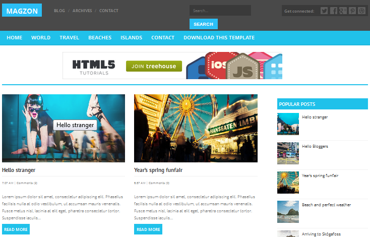 Magzon Blogger free template